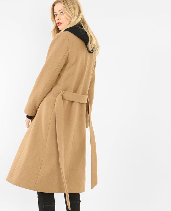 Langer Mantel aus Wollstoff Orangebraun