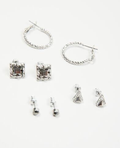 Confezione di orecchini grigio paillettato