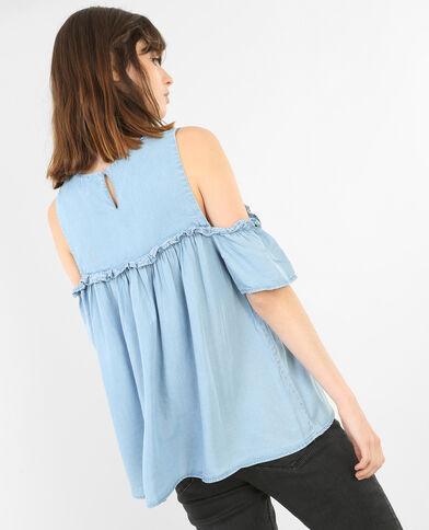 Blusa hombros descubiertos azul