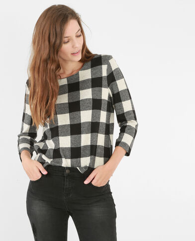 T-shirt carreaux vichy gris chiné