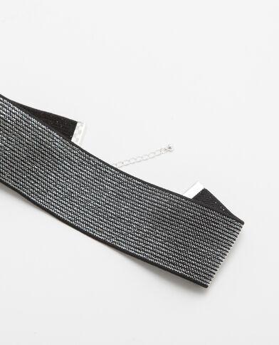Choker argentato alto grigio paillettato