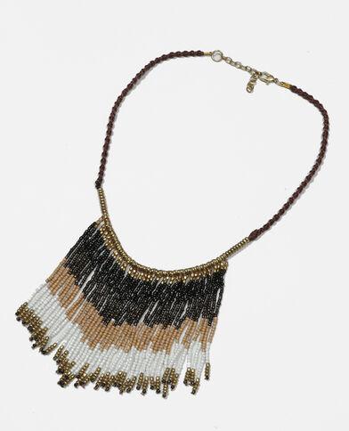 Collier perles à franges marron