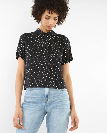 Camisa de manga corta estampada negro