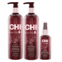 CHI Rose Hip Shampoo+Conditioner+Leave-In Tonic