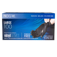 ProCare Black Vinyl Powder-Free Gloves - Large