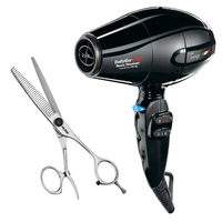 33-Tooth Texturizing Shear with a Torino Black Hair Dryer