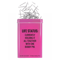 Life Status Tin - 75 black bobby pins