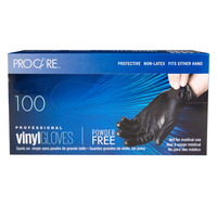 ProCare Black Vinyl Powder-Free Gloves - Small