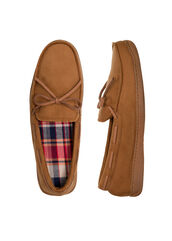 Microsuede Moccasin with Plaid Insole