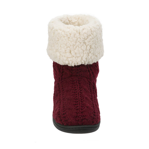 Cuffed Knit Boot Slipper with Heel Patch
