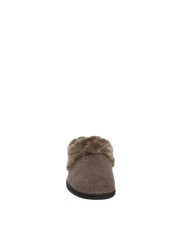 Velour Clog Slipper with Quilted Pile Cuff