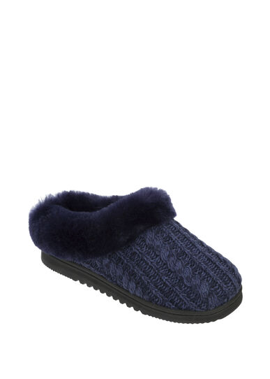 Marled Cable Knit Clog Slipper