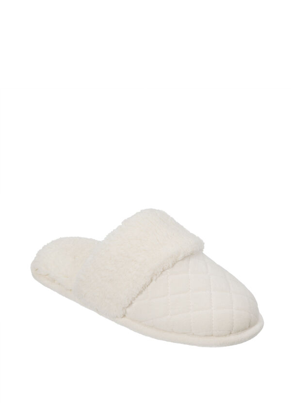 Quilted Velour Scuff with Plush Cuff