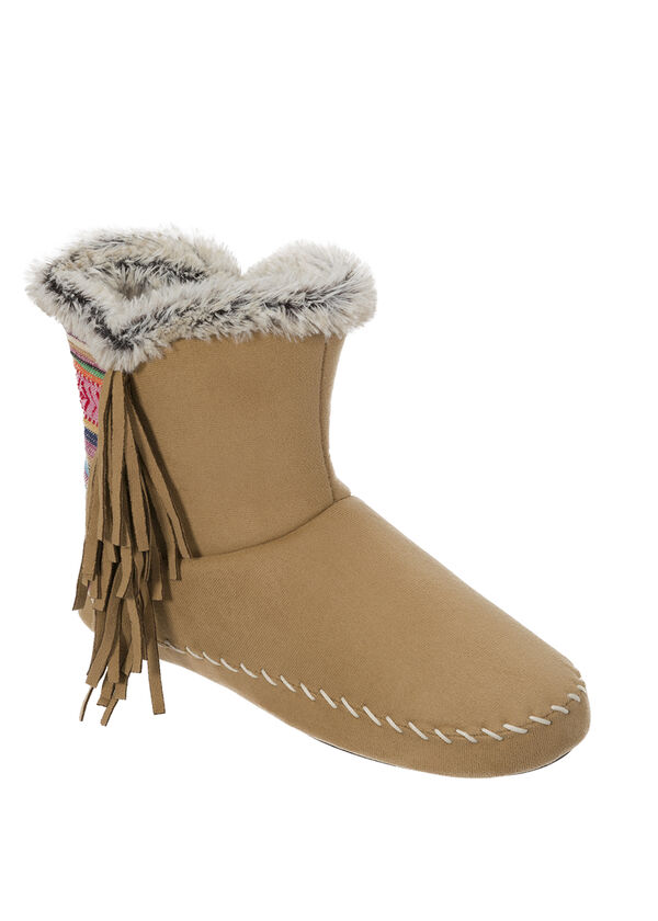Mixed Material Boot Slipper with Side Fringe