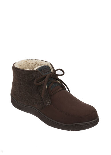 Microsuede Lace-Tie Boot Slipper