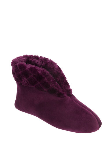 Velour Bootie Slipper with Quilted Pile Cuff