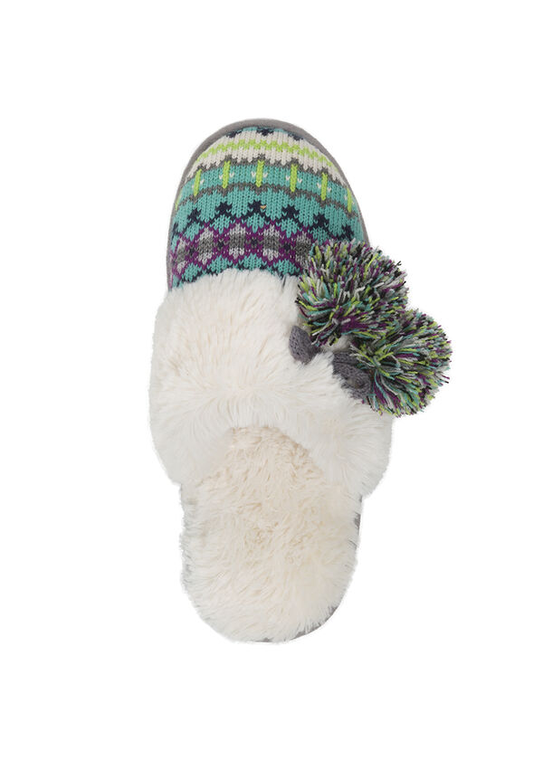 Sweater Knit Scuff Slipper with Poms