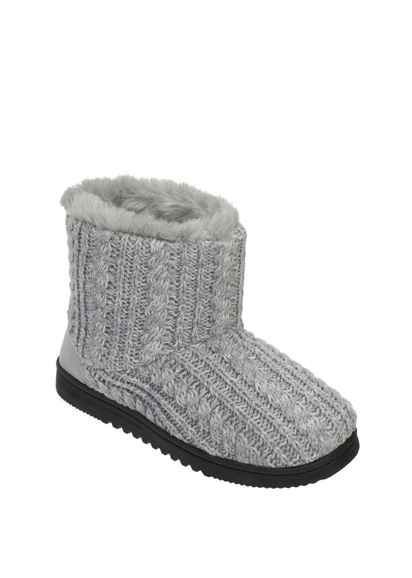 Marled Knit Boot Slipper with Heel Patch