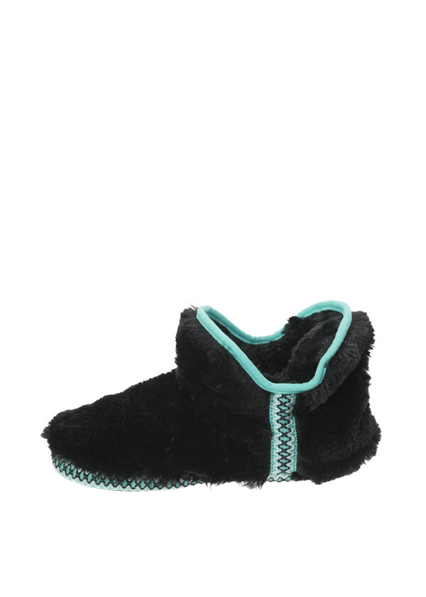 Plush Bootie Slipper with Fair Isle Trim