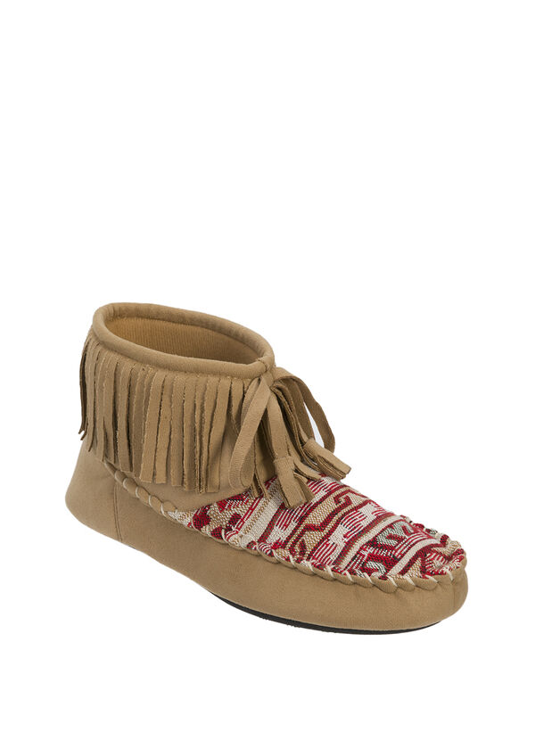 Mixed Material Bootie Slipper with Fringed Cuff