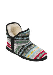 Bright Fair Isle Knit Bootie Slippers