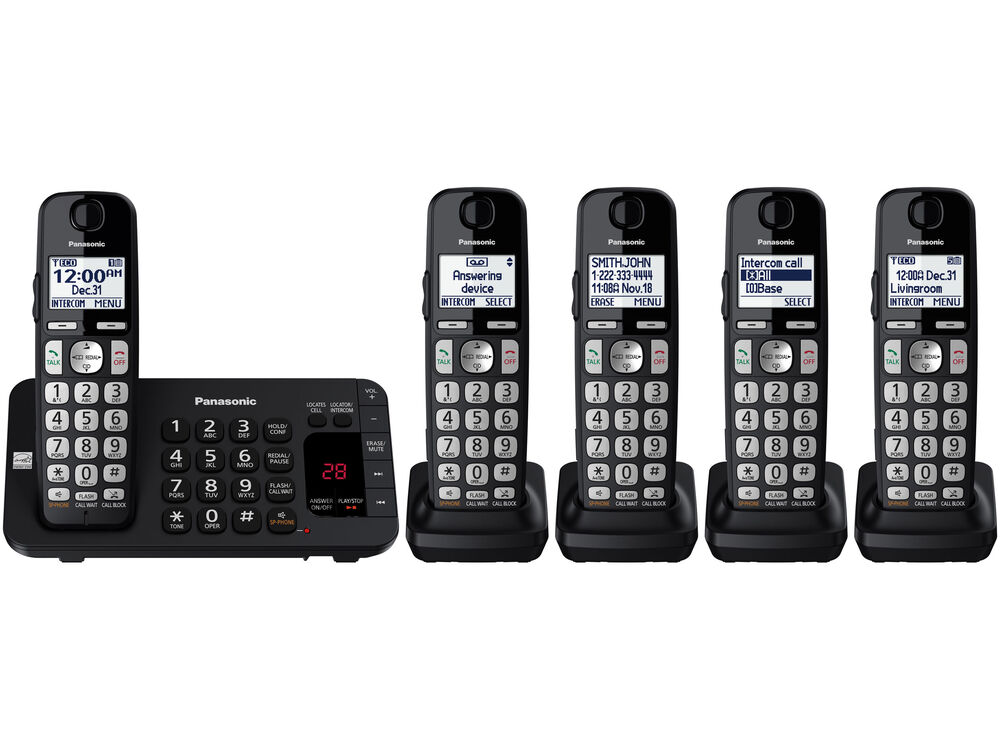 Expandable cordless phone 5 handsets kx tge445b for Home telecom