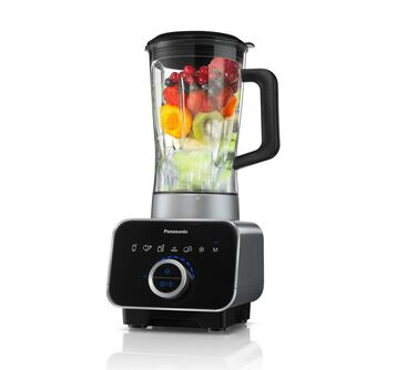 MX-ZX1800 blender front facing view with fruit inside