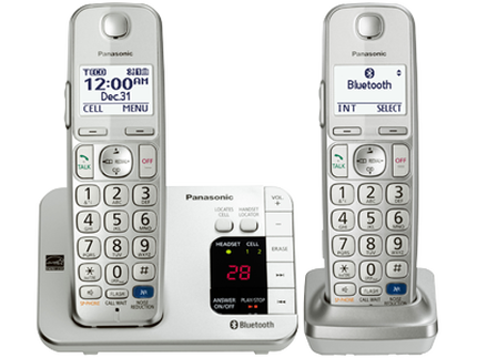 Panasonic Link2Cell Expandable Cordless Phone with Amplified Volume- 2 Handsets (KX-TGE262S)