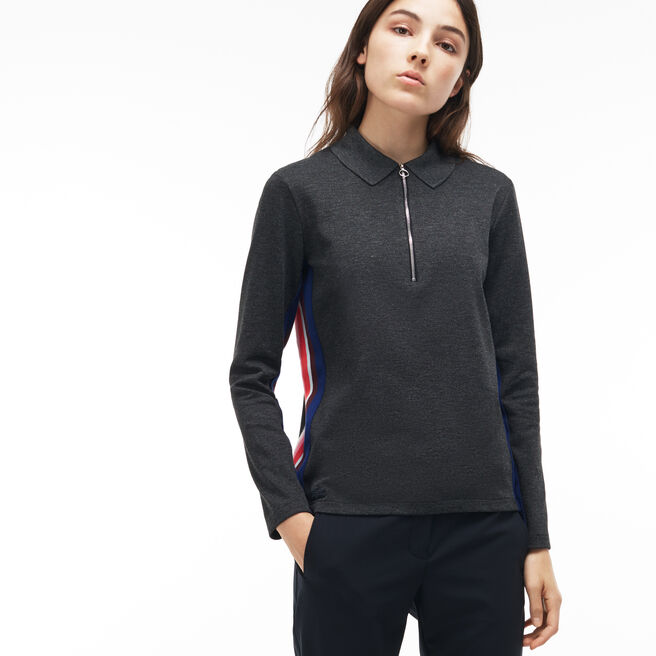 WOMEN'S REGULAR FIT ZIP NECK POLO WITH CONTRAST SLEEVES