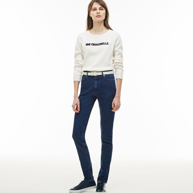 5845ac7b8642 LACOSTE WOMEN S SLIM FIT HIGH-WAISTED STRETCH COTTON DENIM JEANS ...