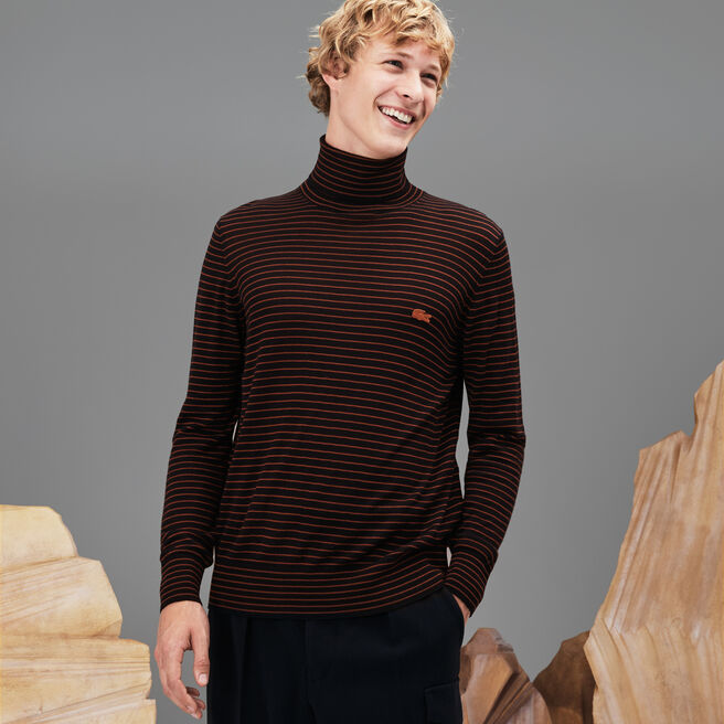 UNISEX FASHION SHOW TURTLENECK STRIPED MERINO WOOL SWEATER