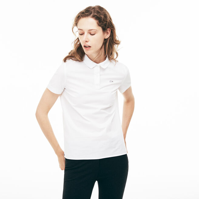 WOMEN'S REGULAR FIT STRETCH POPLIN POLO SHIRT