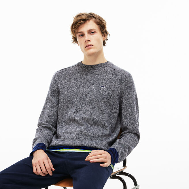 41f58a0b71b9 LACOSTE MEN S CREW NECK WOOL JERSEY SWEATER WITH STRIPED ACCENTS ...