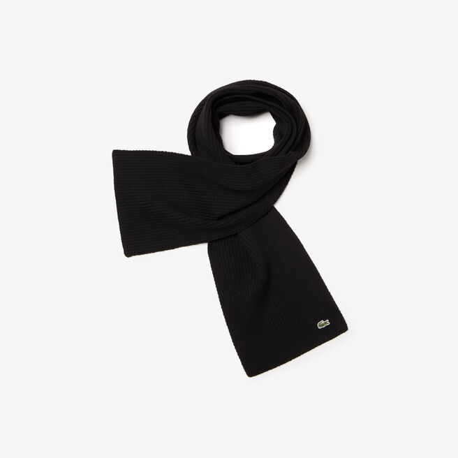 a5bb040d6fac6d LACOSTE Men S Ribbed Wool Scarf