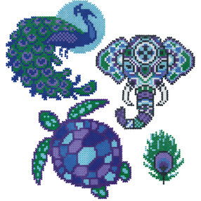 Mini Beads Peacock, Elephant, and Turtle