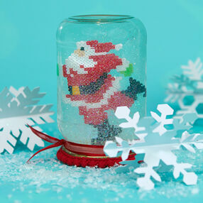 Mini Beads Skating Santa Snow Globe
