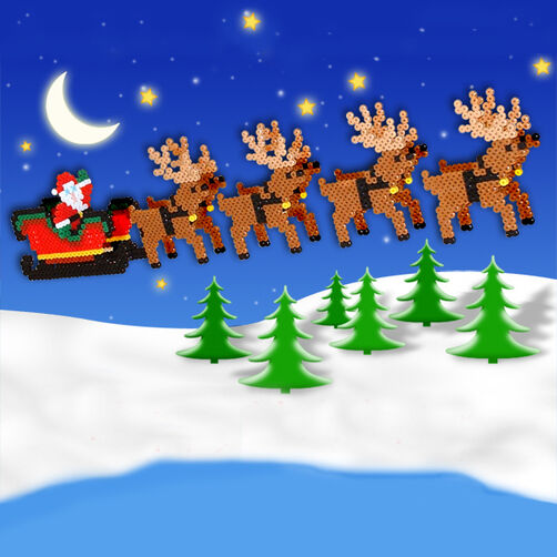 3D Sleigh and Reindeer