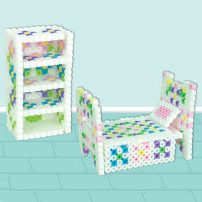 3D Dollhouse Bed and Shelf