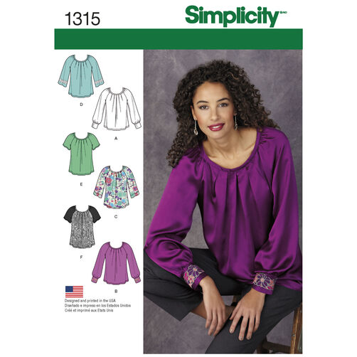 Misses' Blouse with Sleeve & Trim Variations