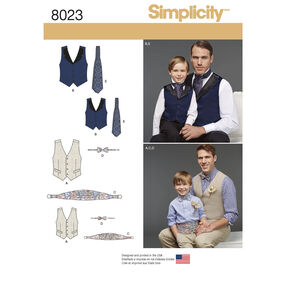 Boys' and Men's Vest, Bow-tie, Cummerbund and Ascot