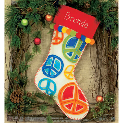 Peace Signs Stocking, Felt Applique_72-08178