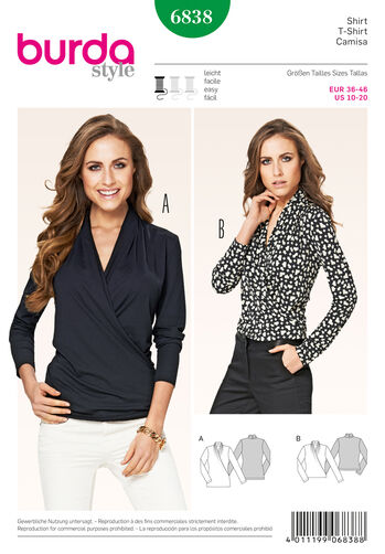 Burda Style Pattern 6838 Tops, Shirts,Blouses