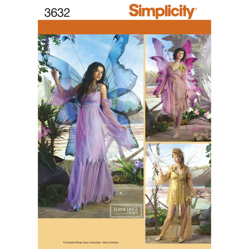 Simplicity Pattern 3632 Misses' Fairy Costumes