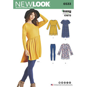 New Look Pattern 6533 Misses' Babydoll Top with Leggings