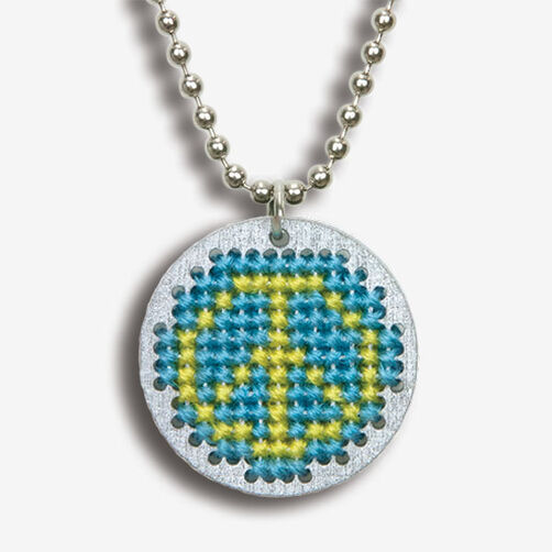 Small Peace Finished Pendant, Counted Cross Stitch_72-74091