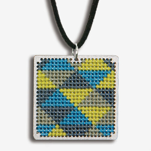 Triangle Pattern Finished Pendant, Counted Cross Stitch_72-74093