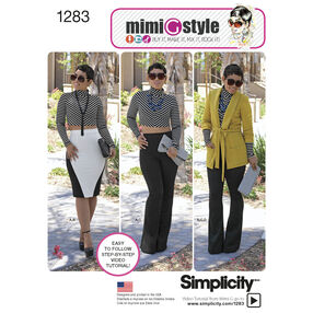 Simplicity Pattern 1283 Misses' Unlined Jacket, Knit Top, Pants and Skirt from Mimi G Style