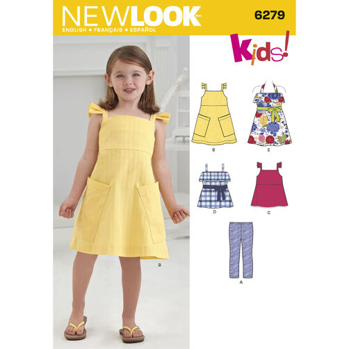 New Look Pattern 6279 Child's Dresses or Tops and Knit Cropped Leggings