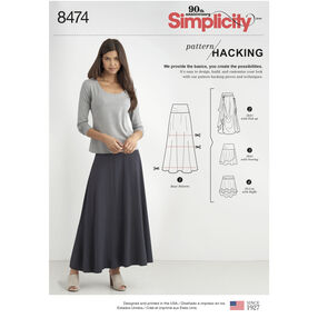 Simplicity Pattern 8474 Misses' Knit Skirt with Options for Design Hacking