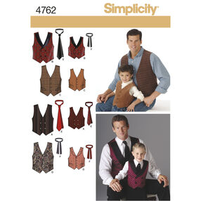 Simplicity Pattern 4762 Boy's and Men's Vests and Ties